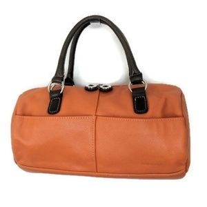 Aurielle leather satchel in Burnt Orange